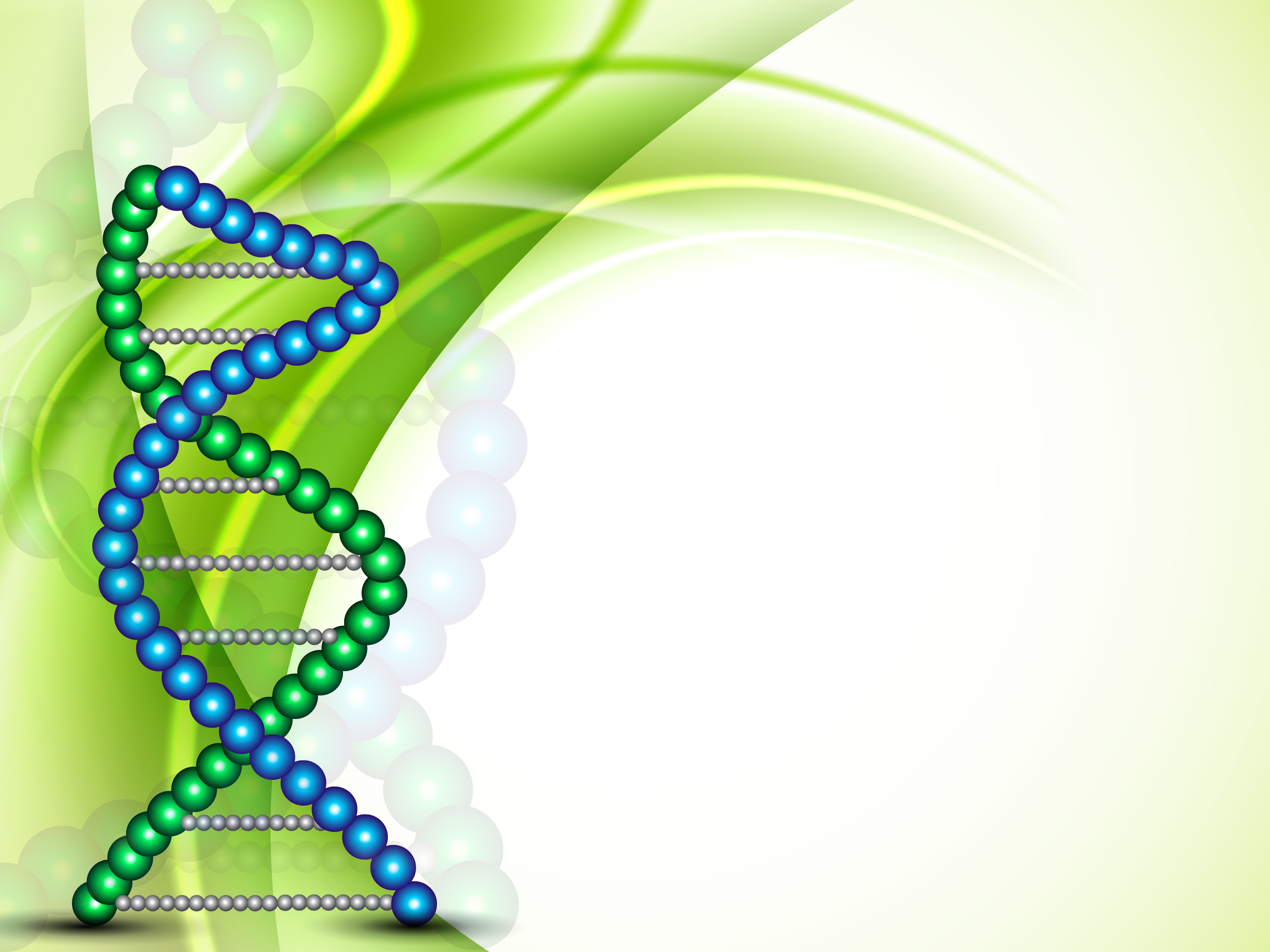 DNA strand in green and blue
